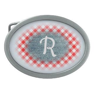 Red Checked Gingham and Denim Custom Monogram Oval Belt Buckle