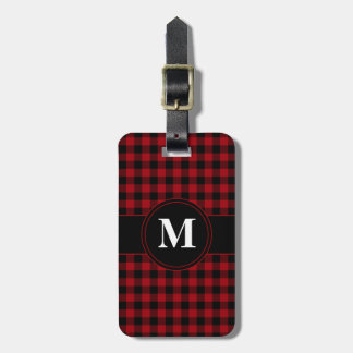 Red Checked Gingham With Customizable Monogram Luggage Tag