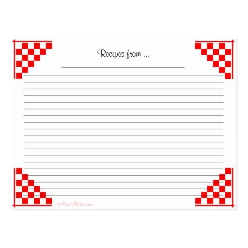Red Checked Ruled Recipe Card Kitchen Equivalents Post Cards