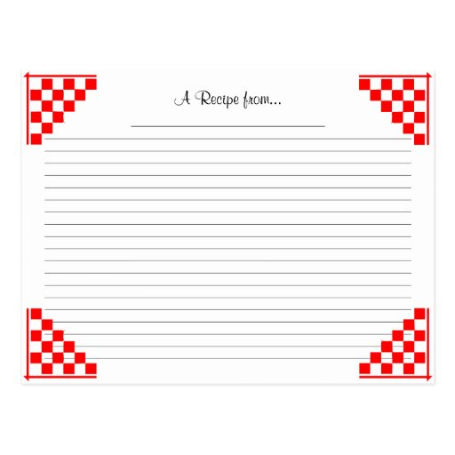 Red Checked Ruled Recipe Card with Equivalents Post Card