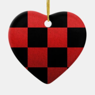 Red Checker Ceramic Ornament