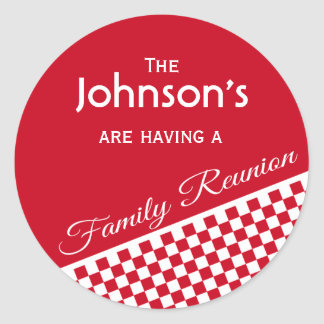 Red Checker Pattern Family Reunion Envelope Seal Round Sticker