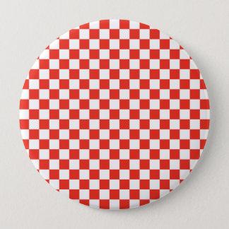 Red Checkerboard 4 Inch Round Button