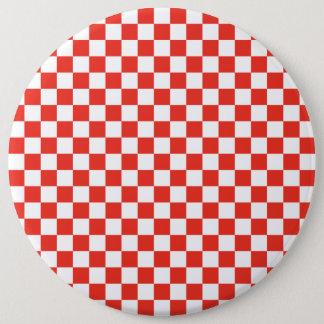Red Checkerboard 6 Inch Round Button