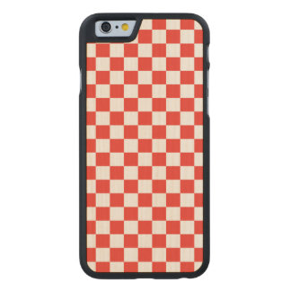 Red Checkerboard Carved Maple iPhone 6 Case
