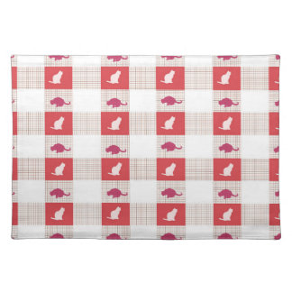 Red Checkerboard Cat Pattern Placemat