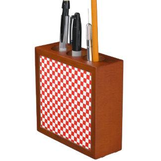 Red Checkerboard Desk Organizer