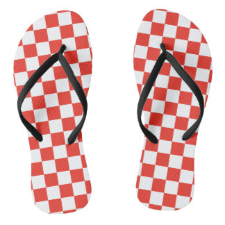 Red Checkerboard Flip Flops