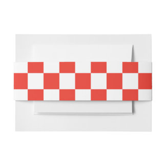 Red Checkerboard Invitation Belly Band