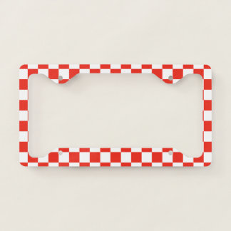 Red Checkerboard License Plate Frame