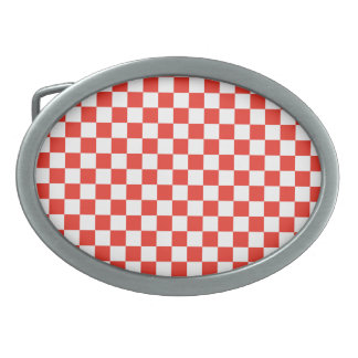 Red Checkerboard Oval Belt Buckle