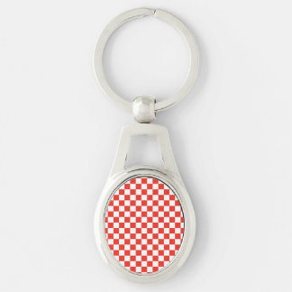 Red Checkerboard Silver-Colored Oval Keychain