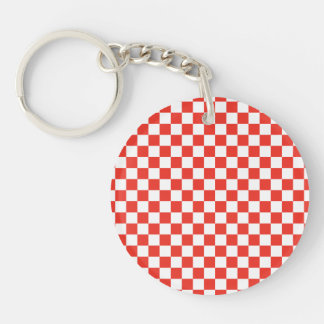 Red Checkerboard Single-Sided Round Acrylic Keychain