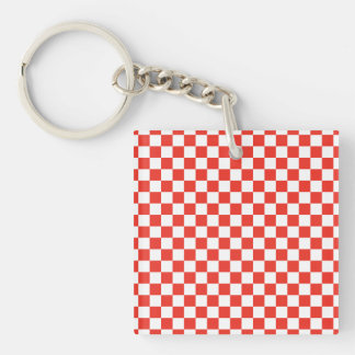 Red Checkerboard Single-Sided Square Acrylic Keychain