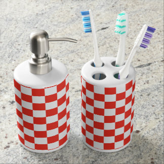 Red Checkerboard Soap Dispenser And Toothbrush Holder