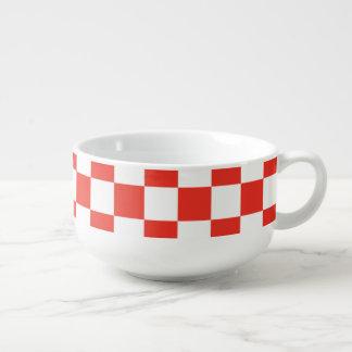 Red Checkerboard Soup Mug