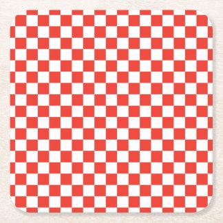 Red Checkerboard Square Paper Coaster