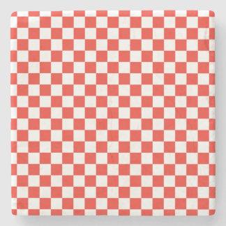 Red Checkerboard Stone Coaster
