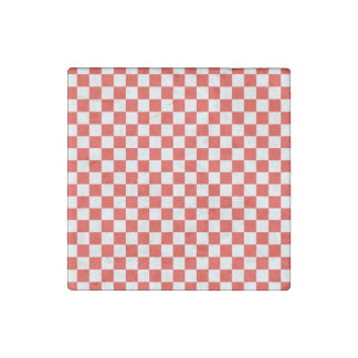 Red Checkerboard Stone Magnets