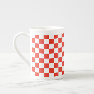 Red Checkerboard Tea Cup