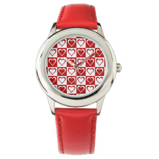 Red Checkered pattern with Hearts Watch