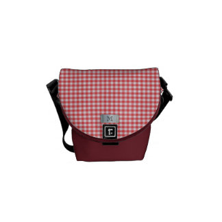 Red checkered with monogram messenger bags