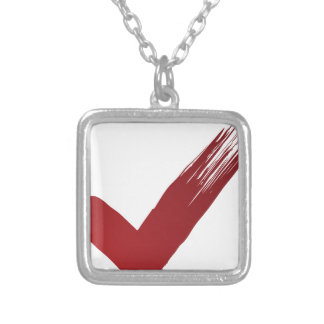 Red Checklist Brushstroke Texture Icon Silver Plated Necklace