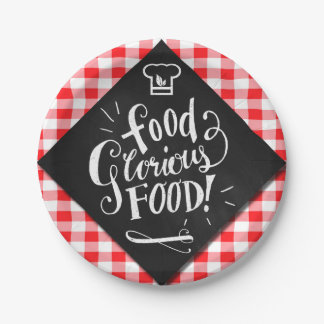 Red Checks and Chalkboard Food Glorious Food Paper Plate