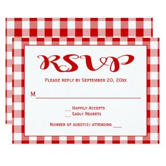 Red Checks RSVP Wedding, Party Gingham Plaid Card
