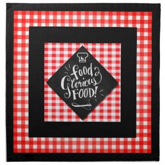 Red Checks with Black Chalkboard Food Typography Napkin
