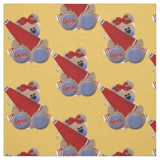Red Cheerleader Bear Fabric