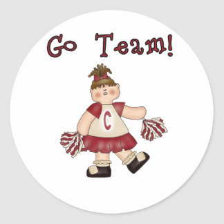 Red Cheerleader Go Team Classic Round Sticker