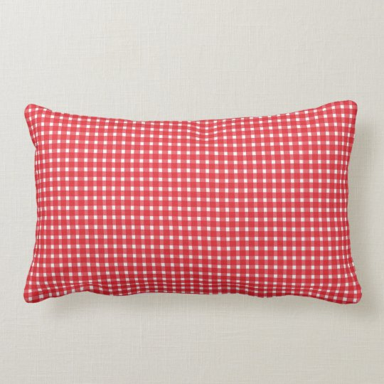 Red Chequered Front Striped Back Throw Pillow