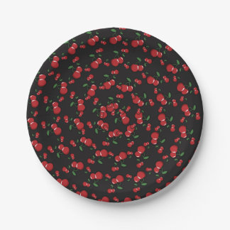 Red Cherries Black or Any Color Birthday Party Paper Plate