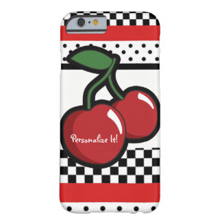 Red Cherries Black & White Custom Personalized Barely There iPhone 6 Case