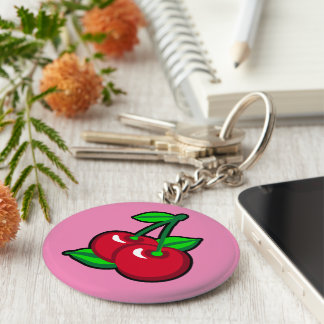 Red Cherries for cherry pickers on light purple Basic Round Button Keychain