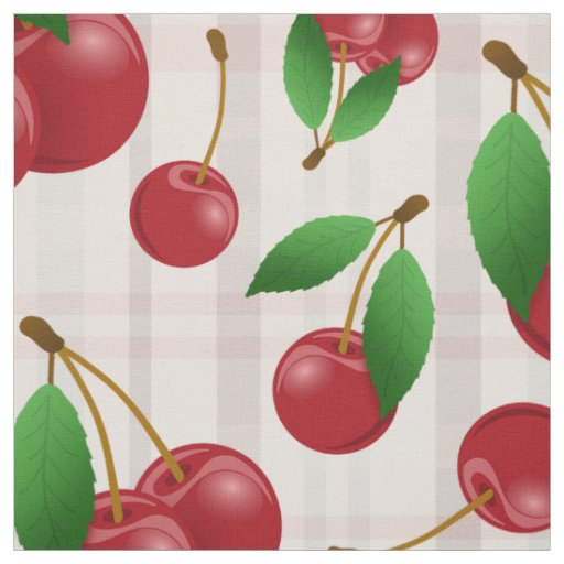 red cherries fruit pattern on faded pastel plaid fabric
