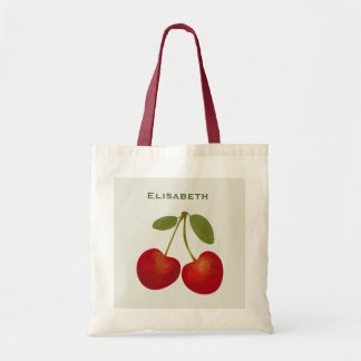 Red cherries fruit personalize name tote bag