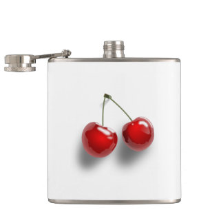 Red Cherries Hip Flask
