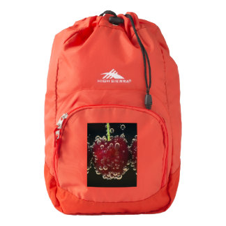 Red cherries in the water backpack