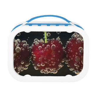 Red cherries in the water lunch box