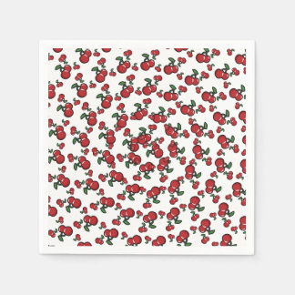 Red Cherries on White Cute Fruit Birthday Party Paper Napkins