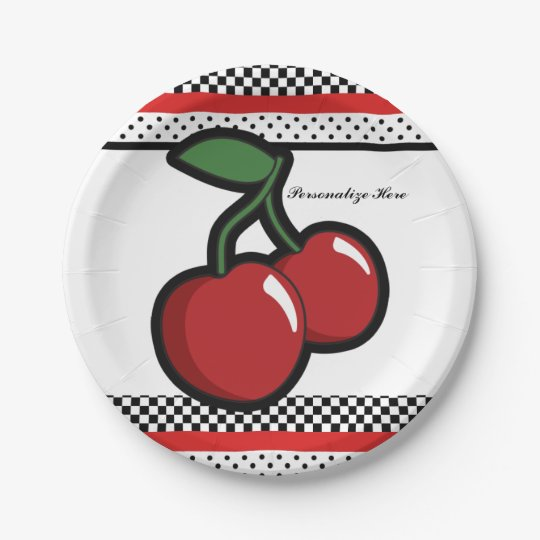 Red Cherries Retro Glam Black & Red Party 7 Inch Paper Plate