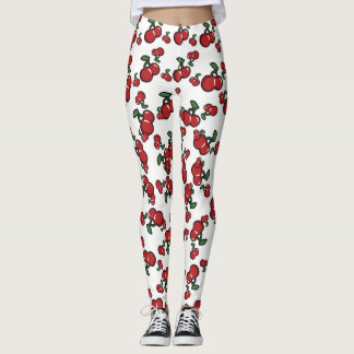 Red Cherries & White (Any Color) Cute Fruit Leggings