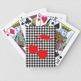 Red Cherries with Black Gingham Poker Deck