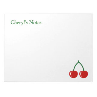 Red cherries writing note pads with custom name