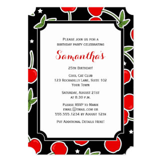 Red Cherry and Star Retro Die-cut Birthday Party Card