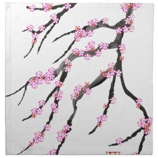 Red Cherry Blossom 32, Tony Fernandes Napkin