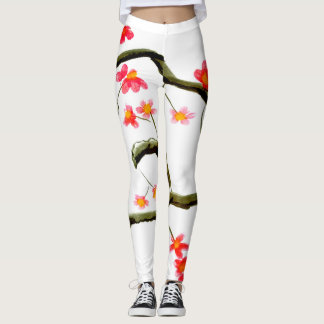 Red Cherry Blossom accent Leggings