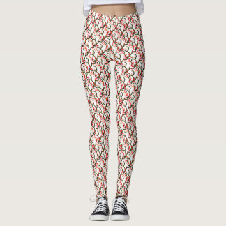 Red Cherry Blossom Motif accent Leggings